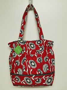 Vera Bradley Deco Daisy Cinch Tote Red White Black New With Tags Retired Pattern