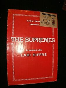 THE SUPREMES 1971 CONCERT TICKET WITH PROGRAMME. BOURNEMOUTH WINTER GARDENS