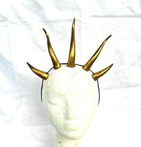 """Dragon Horn Headband Gold Demon Horns Lightweight 5"""" cosplay costume headdress"""