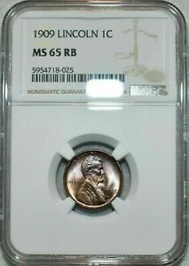 1909-P LINCOLN CENT NGC MS65 RB NICE PURPLE TONED