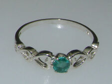 Emerald Solitaire Natural Sterling Silver Fine Rings