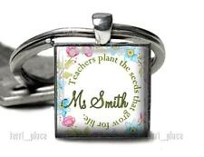 Teachers Plant Seeds Handcrafted Teacher Quote Glass Top Key Chain Teaching Gift