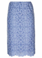 BLUE lined floral embroidered LACE Summer knee length Pencil skirt size 18 NEW