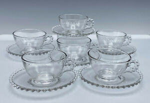 6 Vintage Imperial Candlewick Cups & Saucers Elegant Glass Beaded Edge
