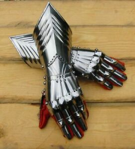 18GA Steel Gauntlets Armor Medieval Late Gothic Knight Finger Gloves SCA /LARP