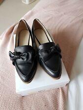 💞 Karen Millen Bow Black Leather Shoes Size 39 6 Worn Once