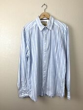 Gilded Age NY Mens XL Cotton Striped Button Down Shirt Long Sleeves Blue White