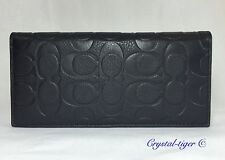 NWT COACH SIGNATURE EMBROSSED PEBBLE LEATHER BREAST POCKET WALLET F75026 BLACK