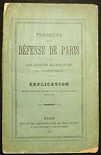 """Livre """"Panorama de la Défense de Paris contre les Armées Allemandes"""" Paris 1875"""