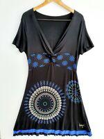 Desigual Dress XL Short Sleeve Black A-Line Floral Geometric Lightweight V-neck