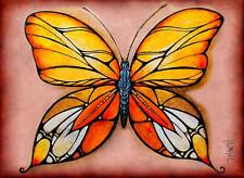 ACEO Orange Butterfly Limited Edition Print of Original Painting by Hahonina