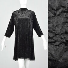 XL Simply Vera by Vera Wang Black Crushed Velvet Dress Modern High Neck Dress