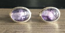 Rare Derbyshire Blue John Solid Silver Rope Edge Cufflinks J2004