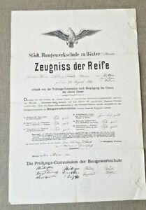 Altes Dokument   Zeugnis der Reife   Baugewerk Höxter   1882