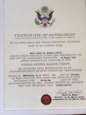 1962 USMC Major Clanie Goodwin Retirement Certificate GENERAL DAVID M. Shoup