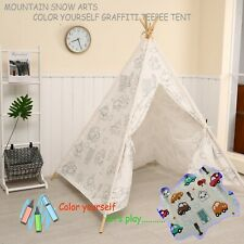TeePee Tent COLOR YOUR OWN! Kids Girls Car Graffiti Indoor Playhouse Wigwam.
