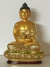 "Buddha Statue 4"" Tall Fiber Glass Golden Painted"