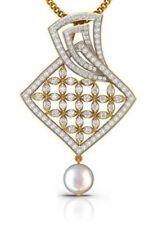 2.04ct NATURAL DIAMOND PEARL 14K YELLOW GOLD WEDDING ANNIVERSARY PENDANT