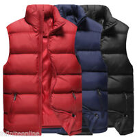 Mens Outdoor Quilted Puffer Vest Winter Warm Gilet Sleeveless Padded Coat Jacket