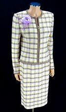 ST JOHN COLLECTION Skirt Suit SIZE 8 Pink Mocha Neapolitan Plaid Santana Knits