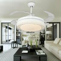 LED Remote Control Crystal Ceiling Fan Light Lamp Retractable Blade Chandelier