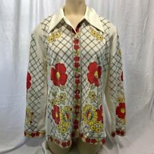 Vintage Land 'N Sea Womens Polyester Floral Print Blouse Shirt Size 38