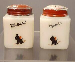 Milk Glass   Scottie   Shakers   Mustard & Paprika   1940s