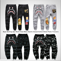 NEW Bape A Bathing Ape Shark Head Trousers Mens Sports Casual Cotton Sweat Pants