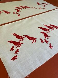 Vintage Leona Caldwell Red Quail Family Silkscreened on White Fabric