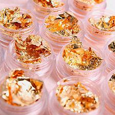 6 Pots DIY Gold Paillette Foil Decal Sticker Polish UV Gel Nail Art Decoration