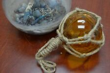 """Reproduction Amber Glass Float Ball Buoy With Fishing Net 4"""" #F-510"""