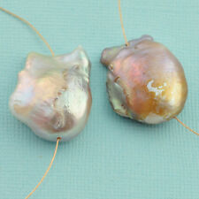 Giant FreshWater Mauve Purple Nucleated Flameball Baroque Pearl PAIR 21x27mm