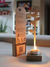 Stand Flower: Fiore papavero porta Tea light porta incenso in legno e acciaio