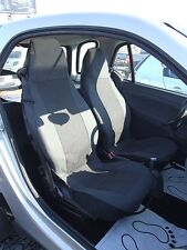 1+1 Premium Gris Noir Tissu Housses de siège sur mesure pour SMART CITY COUPE