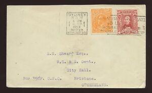 AUSTRALIA 1933 KG5 HEAD 1/2d + STURT...INTERSTATE BOX SLOGAN PMK...to BRISBANE