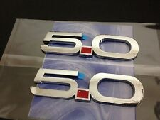 TWO 5.0 Mustang GT Chrome Fender Emblem Badge 3M StickOn F150 Falcon Coyote