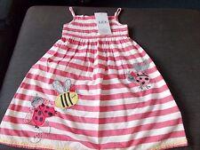 M&S 100%Cotton Striped Sleeveless 'Ladybird' Dress 12-18m 83cm Pink Mix BNWT