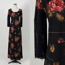 Vintage 1970s FRINGE sleeve maxi dress RETRO DISCO HOSTESS DECO STUDIO 54