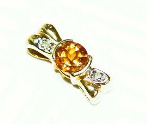 Vintage 14K Solid Gold Natural Round Cut Diamond Citrine Engagement Necklace