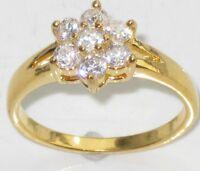 R850 WOMENS 7STONE  SOLITAIRE EMERALD CUT 3STONE SIMULATED DIAMOND RING
