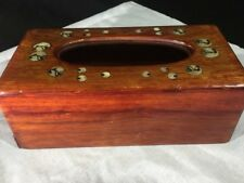Wooden tissue box cover with Abalony inlay