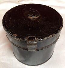 Antique Vintage Metal Collar Tin BoX, ,looks like small metal hat box,grooming