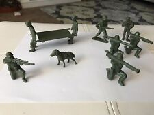 Vintage Plastic Tim Mee Medical Soldiers with Stretcher & Dog VG Condition