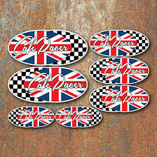 Cafe Racer Sticker Set x7 Chequered Flag Motorbike Motorcycle Helmet Race Decal