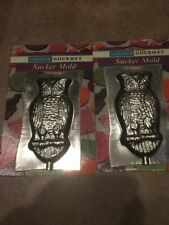 Lot of 2 Vintage Lorann Gourmet Old Wise Owl Sucker Mold Metal NEW Old Stock