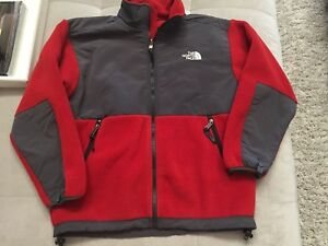 The North Face Sweatshirt Fleece Jacket Zipper Size Large L Youth Gray Orange