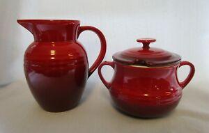 Le Creuset Red Oversize Creamer & Sugar Stoneware Kitchen Limited Edition Set