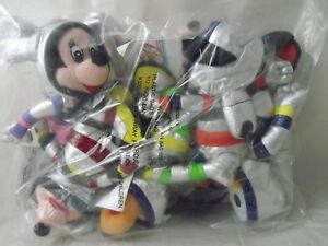 NEW SEALED Vintage Set of Disney Tomorrowland Space Beanies - Mickey, Goofy PLUS