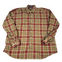 ALAN FLUSSER Button Up Shirt Mens XL Plaid Long Sleeve 100% Cotton