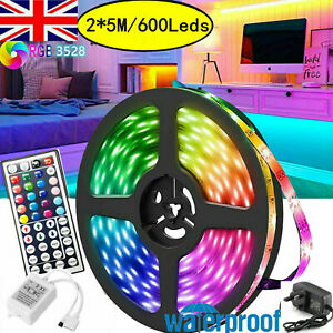 IP65 Led Strip Light 32.8FT/10M RGB 3528 Room Outdoor Tape Light Colour Changing
